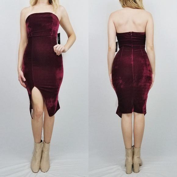 19ca7cd2cb0 Hey Baby Burgundy Velvet Strapless Bodycon Dress